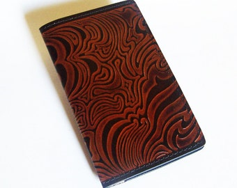 Leather Checkbook Cover with Cloud Design - Leather Checkbook Holder