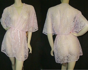Vintage Sheer Pink Lace Short Robe L Deadstock
