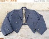 ON SALE Vintage 1950/1960  slate blue children tuxedo jacket /spencer size 8/10 years