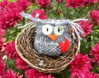 Midnight the Sparkly Owl Hand-knit