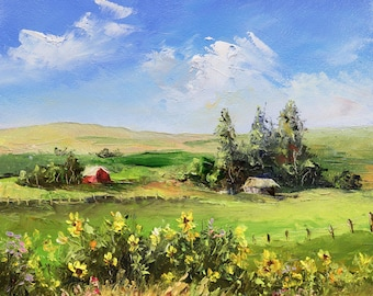 SUNNY FARM FLOWERS Framed Original Oil Painting Country Hills Fields Scenic Rural Barn Rustic House Sunflowers Wildflowers Idaho Land Quaint