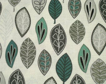 Maywoodstudio • Neutral Ground • Floating Leaves Teal  Gray • Cotton Fabric 0.54yd (0,5m) 002739