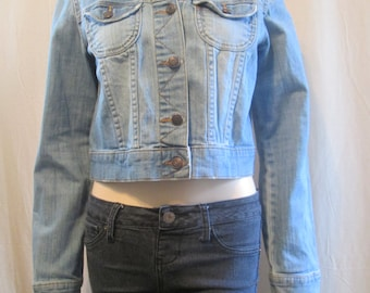 Boho Denim Jacket Bleached Distressed Tattered Gypsy Upcycled with Tapestry Cropped Vintage Size S - M