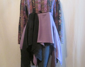 Lagenlook Tunic Boho Ethnic Embroidered Jacket Style Layered Flowing Gypsy Eco Chic One Size Fits S - L