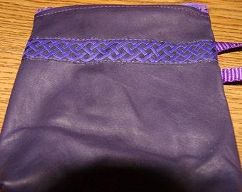 Dark Purple LEATHER w/Celtic Trim Zip Pouch,Bag