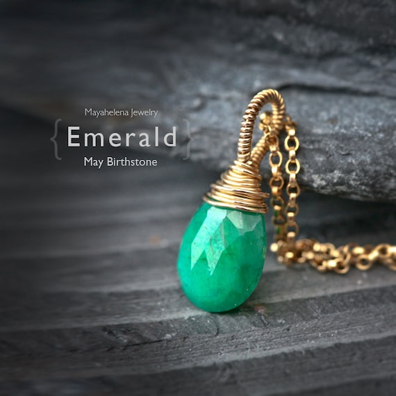 Emerald - May Birthstone Solitaire 14k Gold Filled Wire Wrapped Necklace