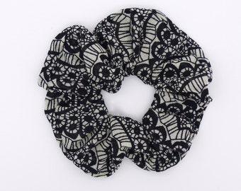 Hair Scrunchie.Hair elastic.Hair bands.Hair ties.Lace print mesh scrunchie.