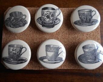 Victorian Tea Cup-set of six-PUSH PINS