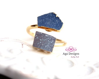SALE ~ Druzy ring 24K Gold Plated- adjustable- pick your design, Agate Druzy two stones