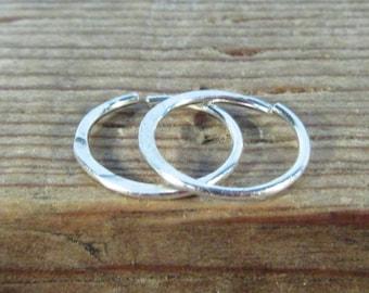 Hoop Earrings Sterling Silver Hammered Endless - Hammered Hoop Earrings, Silver Hoop Earrings, Piercing Hoops, Helix Hoops, Tragus Hoops