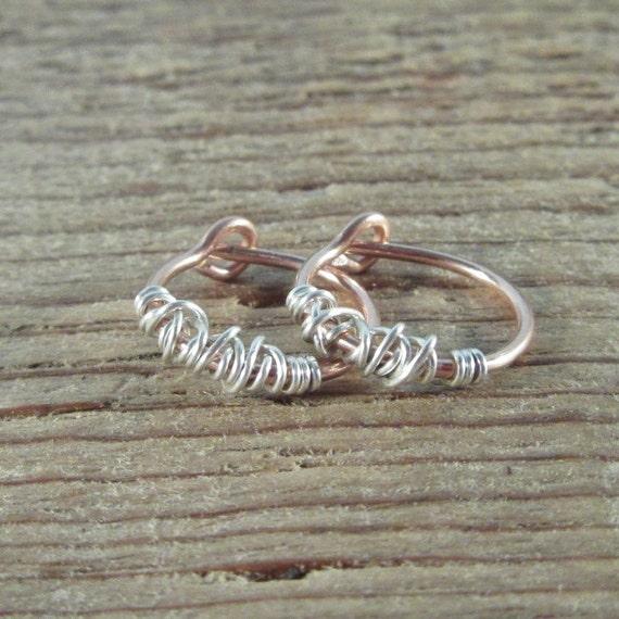 Hoop Earrings Pink Gold Sterling Silver Tangled - Everyday Hoops, Huggie Hoops, Active Hoops, Sleeper Hoops, Tiny Hoop Earrings, Small Hoop