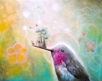 Fine Art Print - Hummingbird -  Whimsical Print -  Wall Deco  - Wall Art -  Bird Print -  Animal Art  -  Humming Bird -  Print