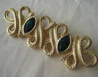Gold Filigree Green Brooch Rhinestone Vintage Pin