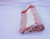 Coral and White Tea-towel