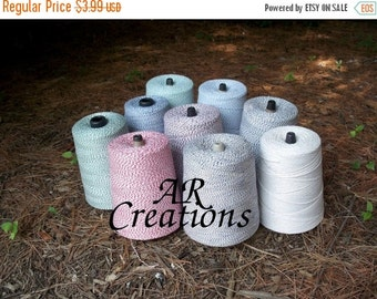 50% Vac. Sale BULK SALE Bakers Twine on Chipboard Hanging Tags 100 yds Assorted - Choose Color - Red, Brown, Blue, Green, Baby Blue, Lime Gr