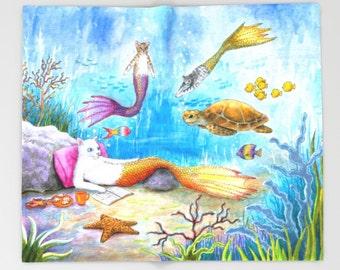 Throw Blanket, Fleece Blanket, Sofa Throw, Cat Mermaid 31 Sea Turtle Ocean Blue Water Fantasy art painting Lucie Dumas