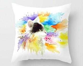 Throw Pillow Cushion Case Cat 605 tuxedo Color Splash from art painting L.Dumas