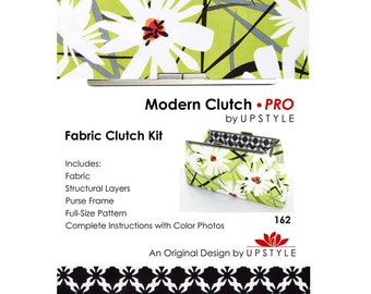 Modern Clutch - PRO Fabric Clutch Kit by UPSTYLE - Green White Floral - Daisy Splash Fabric by Jane Dixon