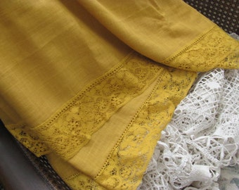 Extra Long Deep Gold Oval Tablecloth with Wide Gold Lace
