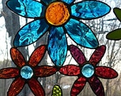 Stained Glass, Flower Cluster, Window Suncatcher, Multi Colored Glass