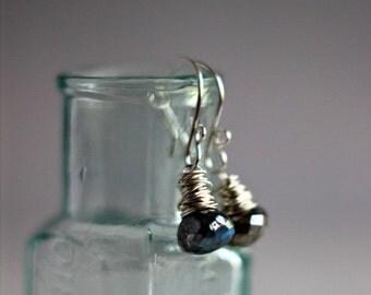 50% Off Labradorite Drop Earrings, Mystic Labradorite Dangles, Faceted Gemstone Briolettes, Teardrop Dangles, Sterling Silver,