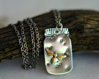October Sale Fireflies Pendant, Mason Jar Necklace, Sterling Silver, Summer Jewelry, Firefly, Gold Fireflies