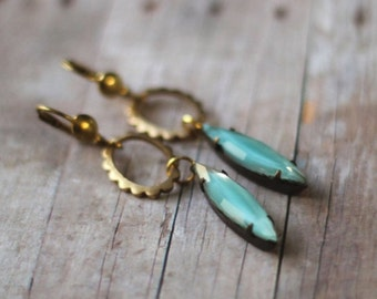 Romantic Aqua and Gold Earrings  Pale Mint Blue Opal Vintage Givre Glass  Spring Wedding  Elegant, Floral  gift Box