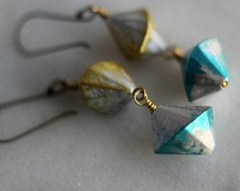 Metallic Earrings, Gold, Silver, Teal Dangles, Retro. Modern, Vintage Lucite