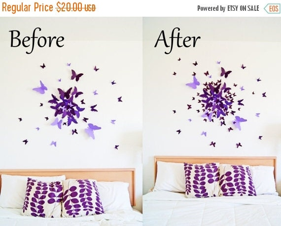 30% off SALE EXTRA 40 small  3D Butterfly Wall Art Circle Burst