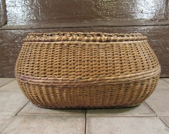 Large old woven oval basket- fine condition, beautiful, solid, functional