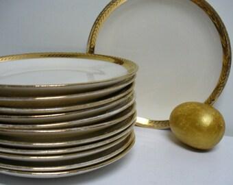 12 Gold Rimmed Vintage Bread Plates