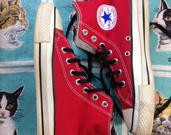 70's 80's red Converse All Star Chuck Taylor hi-tops Made in USA size 5 men, 7 women.