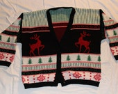 Stags, deer prancing button up vintage ugly Christmas Sweater