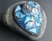 Blue Heart Mosaic Rock, Valentine, Love, Garden Stone, Paperweight