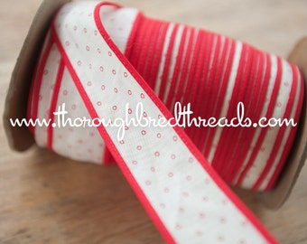 Red Polka Dots  - 3 yards Vintage Fabric Trim New Old Stock