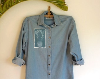 Denim Pineapple Button Up Top