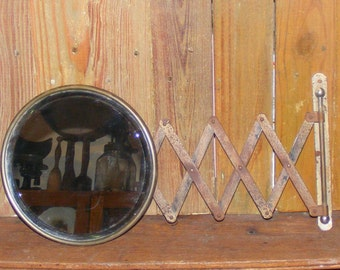 Antique Scissor Arm Extension Round Beveled Mirror