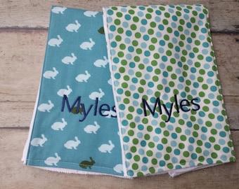Monogrammed Boy Burp Cloth, Boy Burp Cloth, Set of 2, Personalized, Baby Boy Gift,  Newborn Gift,  Bunny, Navy, Blue and Green