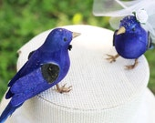 Blue Bird Wedding Cake Topper in Cobalt: Bride & Groom Love Bird Cake Topper