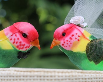 Rainbow Lorikeet Wedding Cake Topper in Pink, Green and Yellow: Bride & Groom Tropical Love Bird Cake Topper