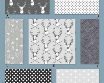 Boy Woodland Bedding in Gray, White and Black, Add your favorite accent color, The Hipster Woodland Collection