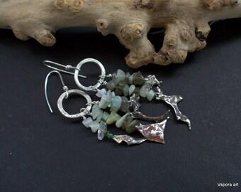 big silver earrings green crystals labradorite moonstone long organic rustic OOAK recycled silver