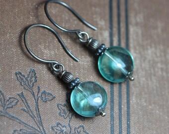 Green Fluorite Earrings Gemstone Coin Earrings Antiqued Sterling Silver Rustic Jewelry