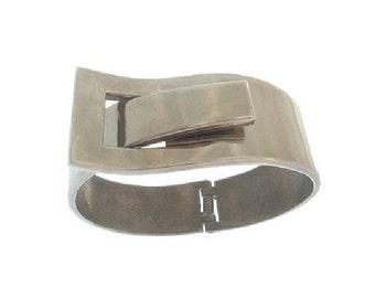 Modernist Bracelet, Vintage Hinged Buckle Cuff, Clamper Bracelet, Statement Bangle, 1960s Fine Vintage Jewelry