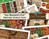 All Hallows Eve, Printable Journal, Digital Kit, 5x7 Journal Pages, Vintage Halloween, Halloween Ephemera, Scrapbooking, Decoupage