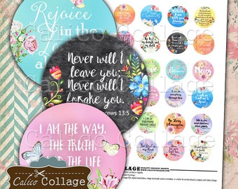 Bible Verses Printable Digital Collage Sheet, 30mm Circles, Circle Collage Sheet, Circle Images, Digital Download, Printable Paper
