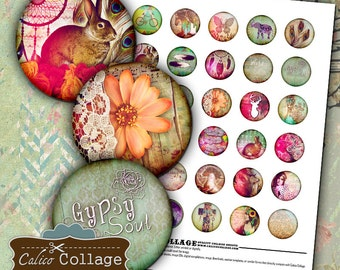 Boho Chic Digital Collage Sheet 30mm Circle Images Hipster Collage Sheet Bohemian Images Printable Collage Jewelry Supply Circle Images