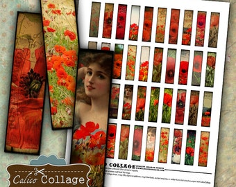 Poppies, Collage Sheet, Digital Sheet, Matchstick Size, 12x50mm Images, Printable, Calico Collage, Digital Download, for Pendants
