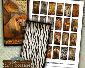 African Animals Digital Collage Sheet 1x2 Domino Images for Pendants, Bezel Settings, Magets, Resin Jewelry, Gift Tags, Calico Collage