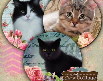 Kitten Collage Sheet - Digital Collage Sheet 2.5 inch size images Printables for Pocket Mirrors cupcake toppers Magnets Paper Weights